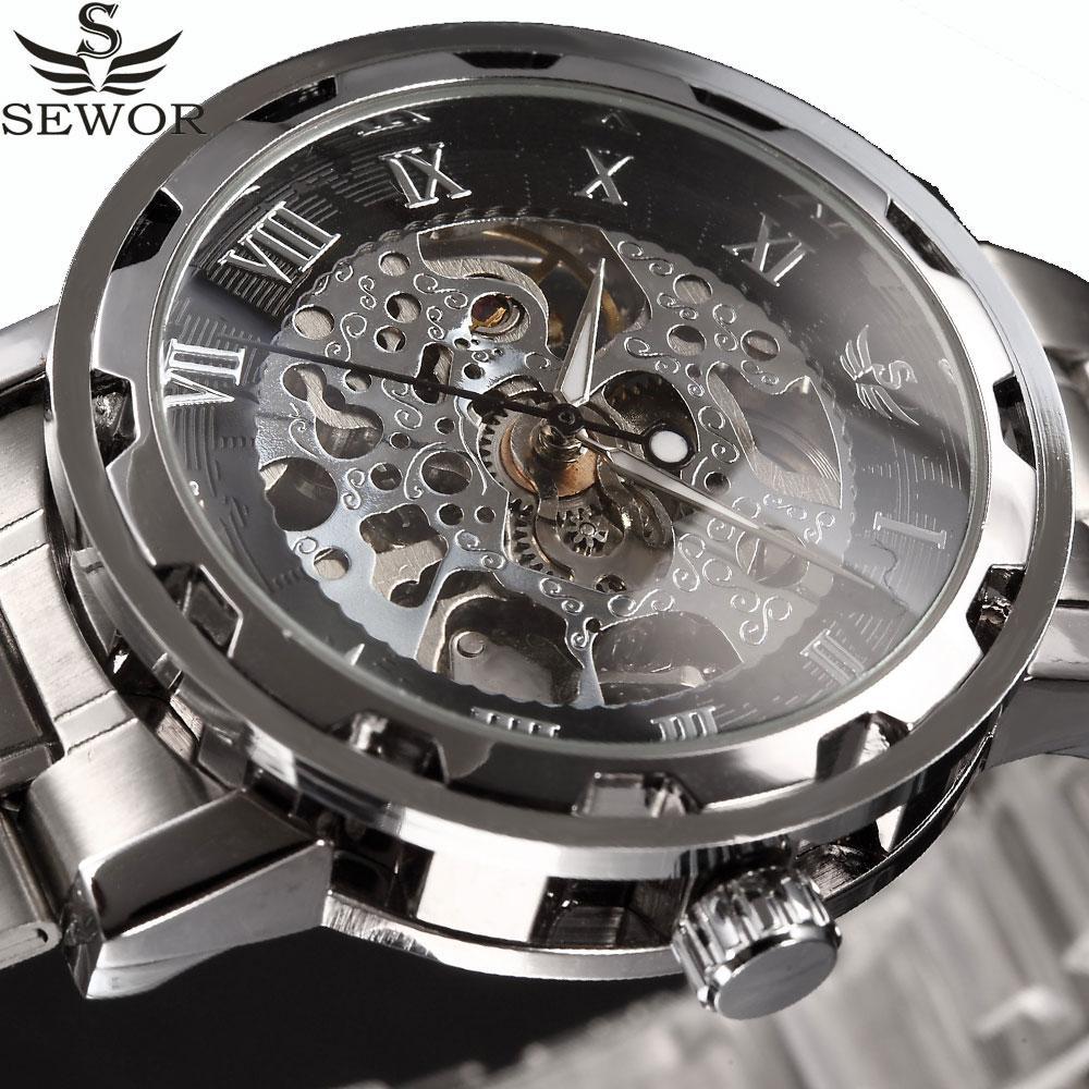 0f4d3131b76 Compre Sewor Relógios Mecânicos Esqueleto De Aço Inoxidável Dos Homens  Relógios Top Marca De Luxo Masculino Relógio De Pulso De Negócios Relógios  Relogio ...