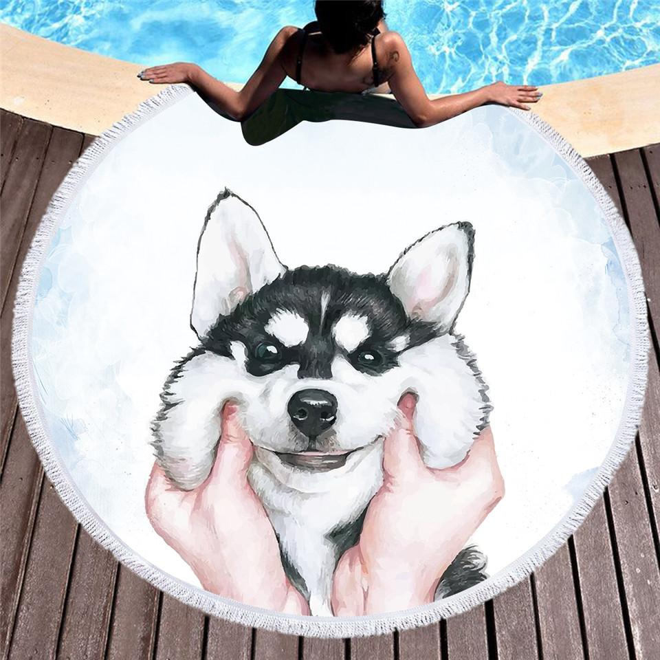 Round Beach Towel for Kids Adults Cute Dog Cartoon Printed Tassel Yoga Mat Large Towel Microfiber Toalla Blanket