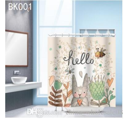 2018 Flower Rabbit Shower Curtain High Quality Polyester Fabric Waterproof Mildewproof For Bathing ZI 217 From China Wholesale08 1159