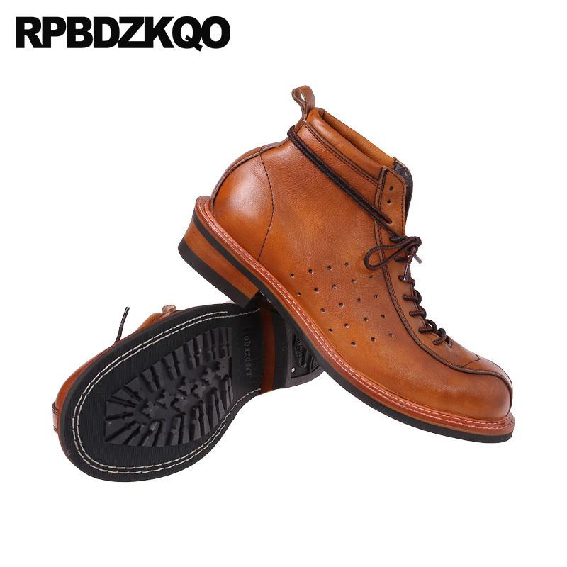 283ccf4b1ae60a Vintage Genuine Leather Boots Full Grain Ankle Designer Shoes Men High  Quality Fall Booties Short Brown Lace Up European 2018 Military Boots  Walking Boots ...