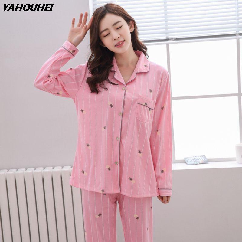Ropa Grandes Mujer Inicio Homewear Manga Compre Pijama Invierno 100 Conjuntos Otoño 2018 Para Pijama Algodón De Tallas Chica Larga Lindo De Lounge Pijamas HwCqSBR