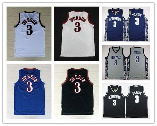 9bbaec8d7 2018 Ncaa Chamberlain Georgetown Hoyas College Shirt 3 Allen Iverson Jersey  University Tean Black Blue Gray Allen Iverson Basketball Jerseys From  Cky01
