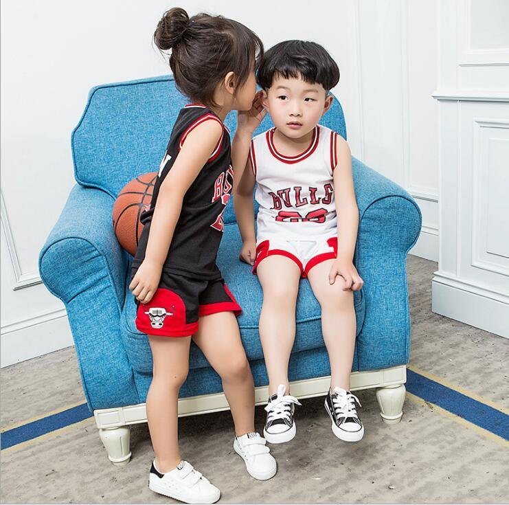 2019 HOT Baby Boys Big Girls Sports Clothing Sets Children Football Tank 23  Bulls Tops Shirts + Shorts Set Kids Sport Clothes Suits A7294 From  Woerwofa1818 e1991d059