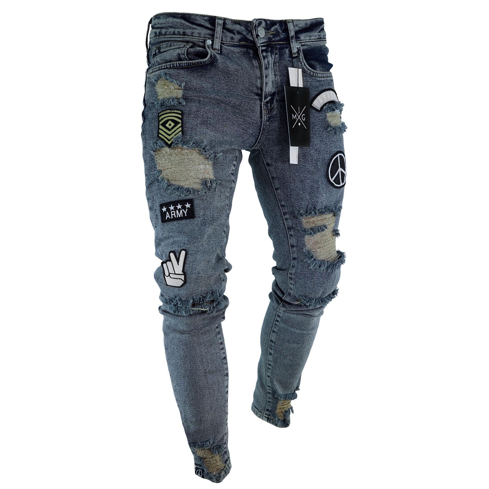 699e8b7cb Compre Pantalones Para Hombre De Diseñador Slim Fit Jeans Rasgados Hombres  Hi Street Jeans De Mezclilla Pitillo Desgastados Desgastados Rodilla Hip  Hop ...