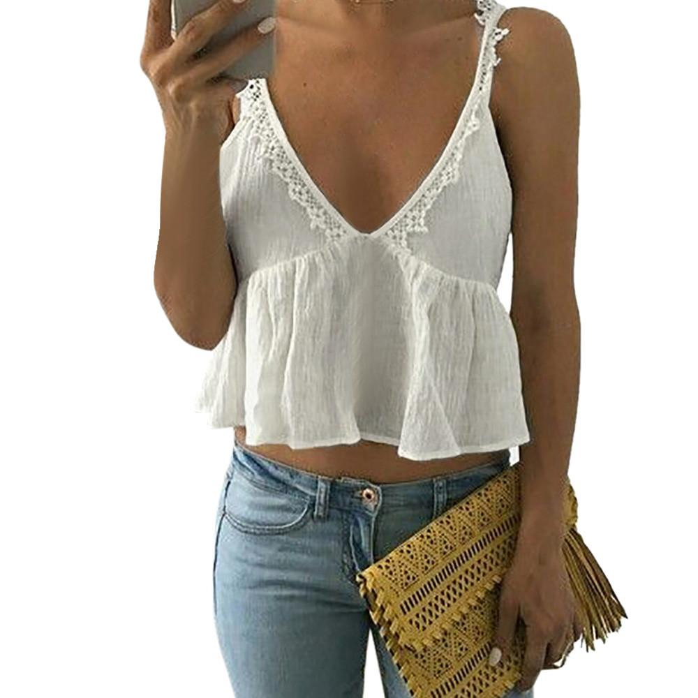 fec9ebe4c8d45 FEITONG Women Sexy Depp-V Sleeveless Lace Vest Blouse Crop Tops Clothes  Solid camisole T Shirt crop top blusa veludo