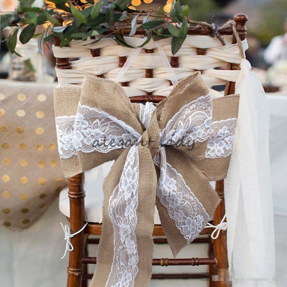 240 x 15cm 레이스 Bowknot 삼 베의 자 팔찌 자연 Hessian 황 마 린 넨 소박한 의자 커버 넥타이 Bowknot 결혼식의 자 장식에 대 한 DIY 공예