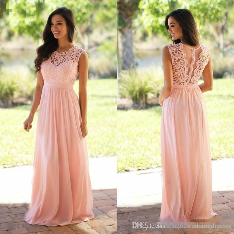 2019 Pink Chiffon Lace Bridesmaid Dresses Sheer Jewel Neck Sweep Train Plus Size Wedding Guest Party Gowns robes de demoiselle d'honneur