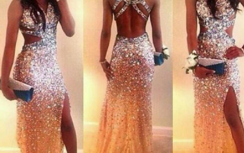 Lujo con cuentas vestidos de baile sexy de alta calidad que brilla largos vestidos de fiesta de baile de graduación con espalda cruzada lateral vestido de noche formal