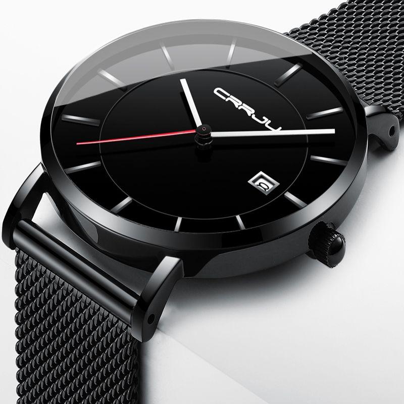 f773c9f5c6e7 Compre Crrju Hombres Relojes Negro Negocio Impermeable Deporte Reloj De  Cuarzo Hombres Marca Lujo Fecha Reloj Masculino Reloj De Pulsera De Acero  Inoxidable ...