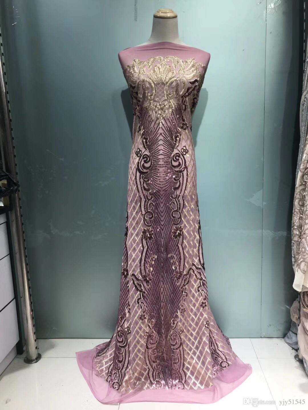 FLY1005  2018 shining African French lace fabric sequins lace fabric with gorgeous embroidery for party dress