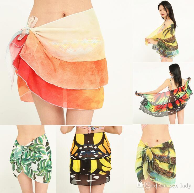 5872cb12eaf25 2018 New Colored Floral Pineapple Chiffon Beach Cover Up Women Charm Beach  Bikini Cover Up Wrap Scarf Pareo Swimwear Sarong Wrap