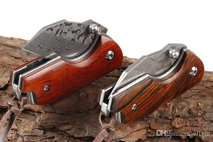 New EDC Pocket Knife Damscus Steel Blade Rosewood + Steel Sheet Handle Mini Small Keychain Folding Knives
