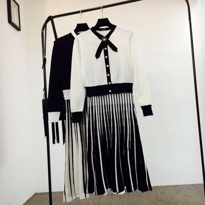 Nova primavera outono moda feminina elegante preto branco cor bloco arco gola pérola botões de malha camisola e plissada saia longa vestido terno