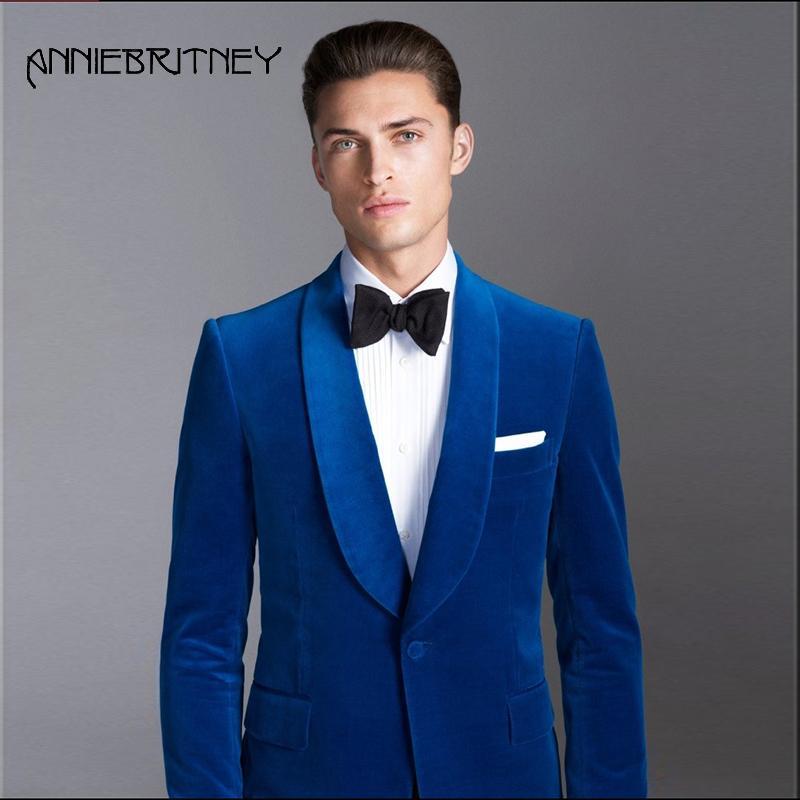 Acheter 2018 Costume Homme Bleu Royal Pour La Soirée De Mariage Châle  Revers Revers De Velours Blazer Personnalisé Veste Classique Élégant Formel  Smoking 2 ... a811f321c10