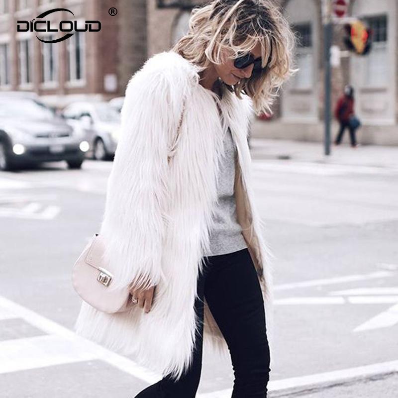 04397aaf330 2019 Plus Size 4XL Elegant Faux Fur Coat Women 2018 Fluffy Warm Long Sleeve  Female Outerwear Chic Autumn Winter Coats Jacket Overcoat S112 From  Ruiqi03