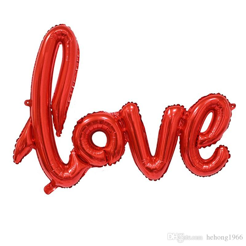 108*64cm Aluminum Foil Balloon English Letter Love Shape Oversize Airballoon For Valentine Day Air Balloons Hot Sale 2 53sl Z
