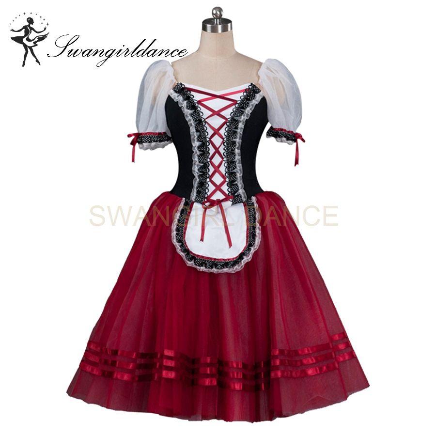 04946af0fc 2019 Black Burgundy Giselle Romantic Professional Ballet Tutu Dress Girls  Maid Ballerina Classical Tutu Dress BT8904E From Swangirl