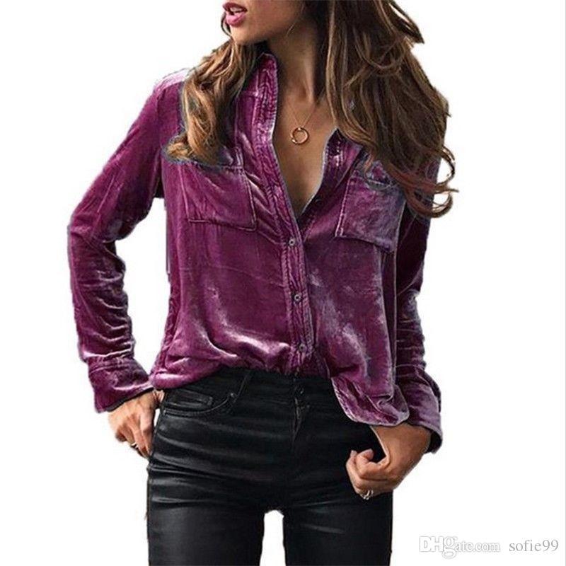 819677e980848 Satın Al Kadın Bahar Sonbahar Kadife Bluz Uzun Kollu Turn Aşağı Yaka  Düğmeler Cep Gömlek Kadın Üstleri Gömlek Blusas, $11.99 | DHgate.Com'da