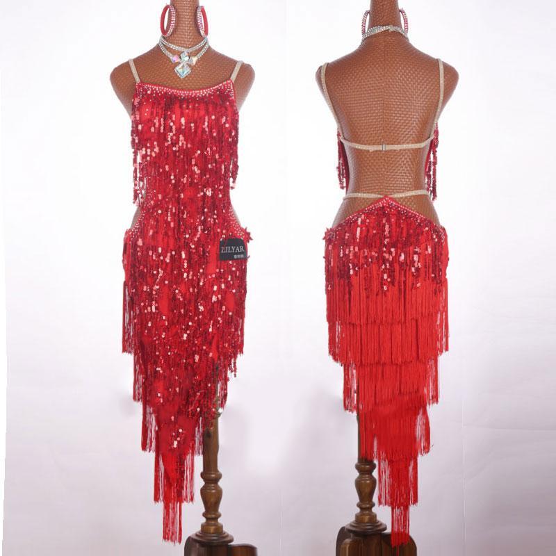 2019 Profession Latin Dance Dress Women Tassel Sequins Dresses Samba