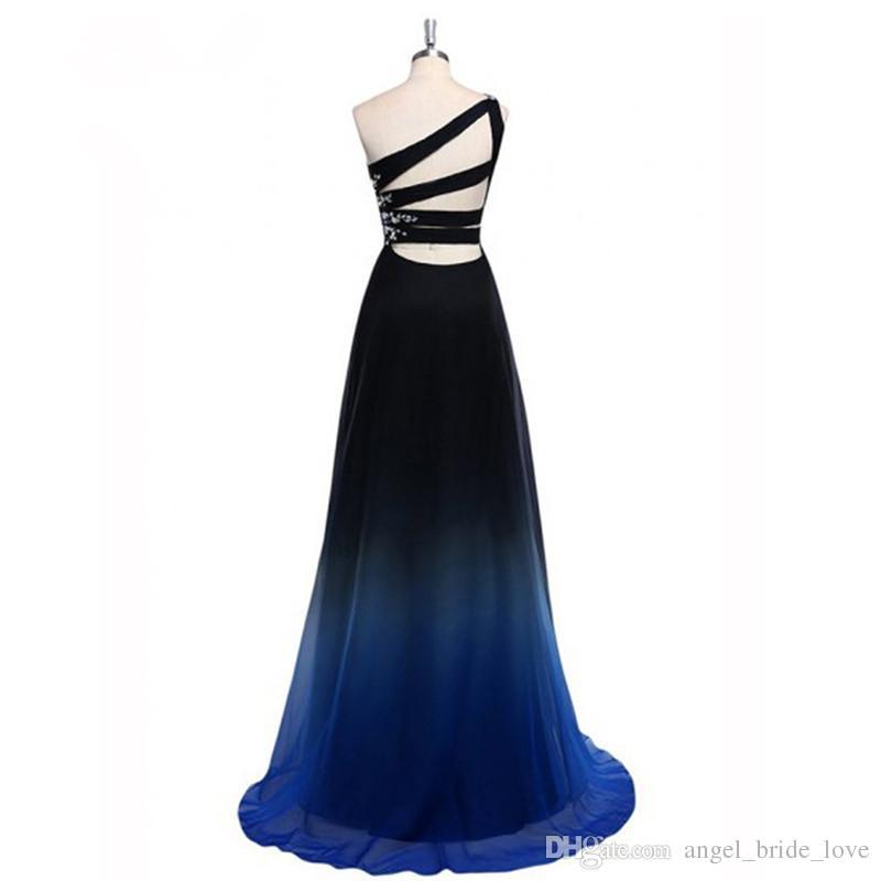 2018 Yeni Gerçek Fotoğraf Son Ombre Balo Elbise Bir Omuz Degrade Abiye Boncuk Özel Durum Elbise Q85