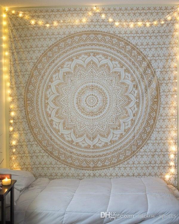 Coperta da parete in stoffa sottile da yoga in poliestere con scialle da spiaggia bohemien grande mandala indiano arazzo 210x150 cm