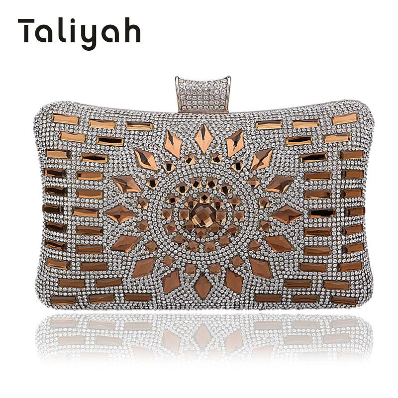Taliyah Handbags Women Famous Brands 2018 Gold Diamond Clutch Purse Ladies Evening Clutch Bags Wedding Bridal Bag bolsa feminina