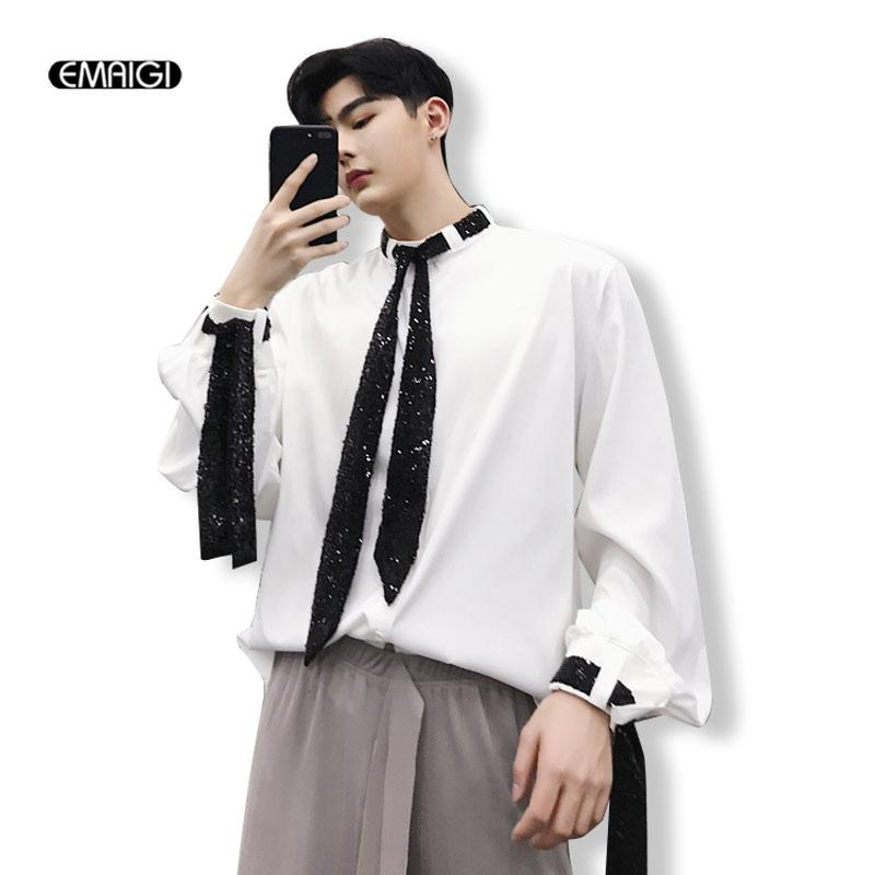 2019 Men Retro Fashion Casual Loose Dress Shirts Stage Clothing Japan  Gothic Style Male Long Sleeve Black White Shirts From Donahua d46073c504e1