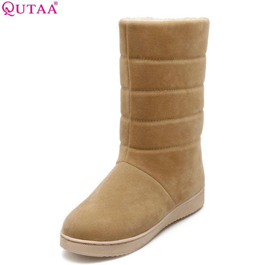 fe9b6bb0 Compre QUTAA 2019 Botas De Mujer Media Calza Resbalón En Zapatos De Mujer  Elegante Negro Ronda Toe Flock Botas De Invierno Zapatos Tamaño Grande 34  40 A ...