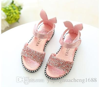 c9a28174d0d0c 2018 Hot Sale Baby Girl Sandals Fashion Bling Shiny Rhinestone Girls Shoes  With Rabbit Ear Kids Flat Sandals Girls Designer Shoes Boys Flipflops From  ...