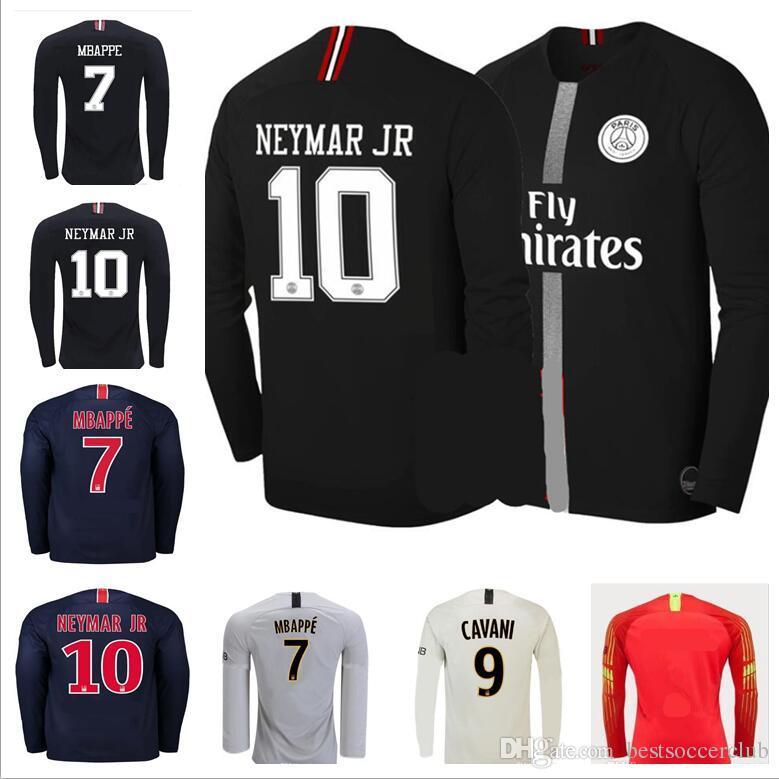 d55e66a52bd 18 19 Long Sleeve Soccer Jersey Paris MBAPPE CAVANI Full DANI ALVES ...