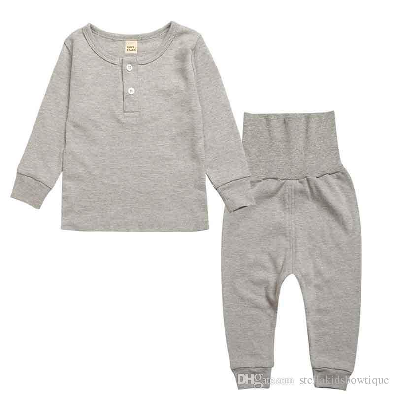 Baumwolle Kinder Nachtwäsche Kleidung Langarm Top Hohe Taille Hose Kinder Pyjamas Set 2 stücke Plain Kinder Pyjamas Haus Tragen Kinder tuch