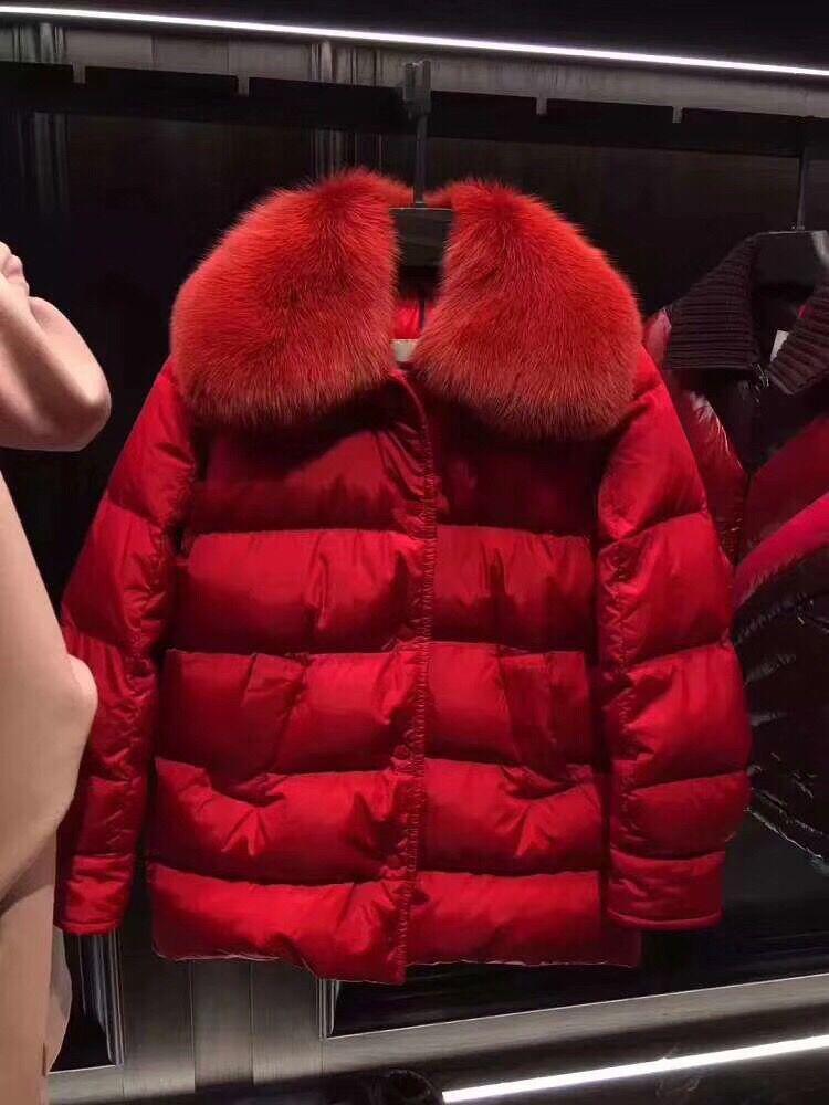 a373bb2ed37 Compre Chaqueta De Pluma Mujer Con Capucha Mujer Chaquetas De Pluma Marca  Chaquetas Abrigos Mujer Cálida Parka Rojo Negro Cuello De Piel 2018 Nuevo A  ...