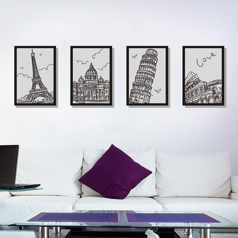 Architectural Photo Frame Four Drawings large wall stickers home decor  living room diy mural decals removable wallpaper