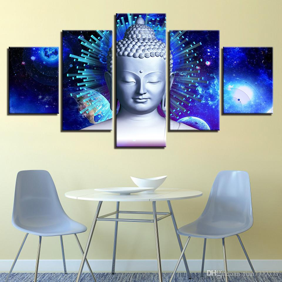 New Blue Buddha Canvas Painting 5 Panel No Frame Buddhism Poster Buddha Statue Picture For Temple Home Decor Wall Art Group Painting