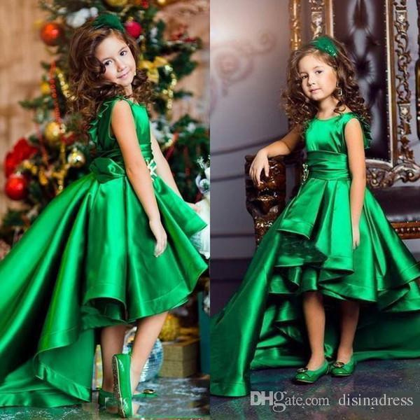 Cute Green High Low Girls Pageant Dresses Jewel Neck Sleeveless Satin  Flower Girl Dress Cheap Kid Birthday Dress Baby Girl Flower Girl Dresses  Ball Gown ... 8873d8e62