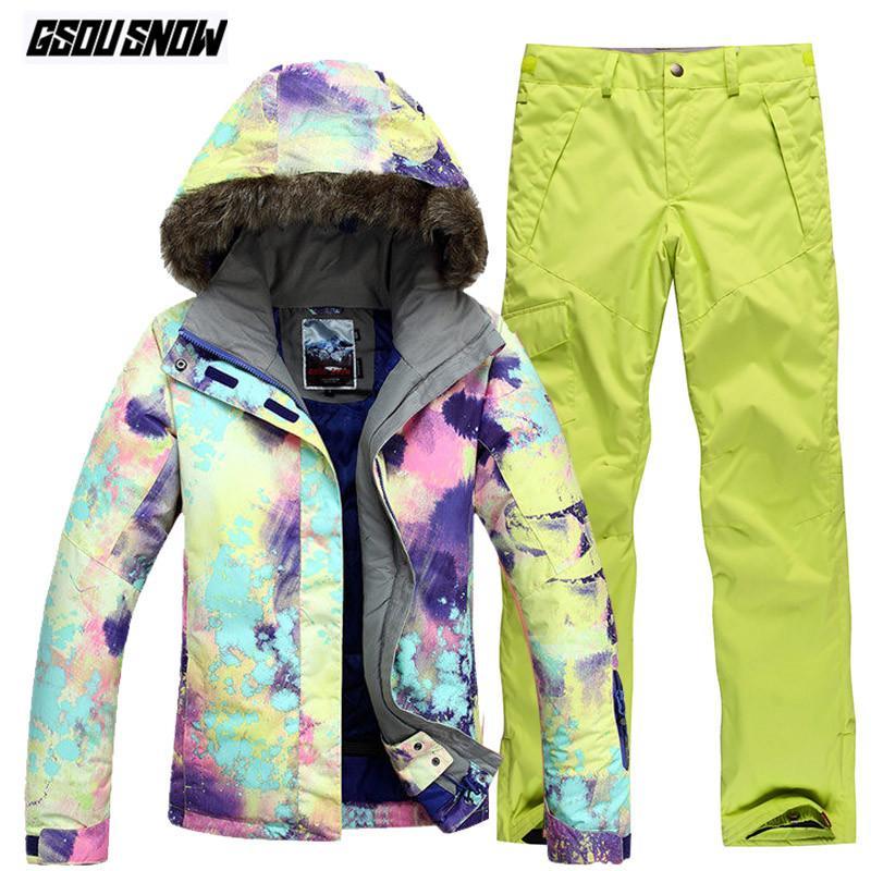 Compre GSOU SNOW Marca Traje De Esquí Mujeres Chaquetas De Esquí Pantalones  De Invierno Traje De Esquí De Montaña Al Aire Libre Impermeable Esquí  Snowboard ... 34acf05747b
