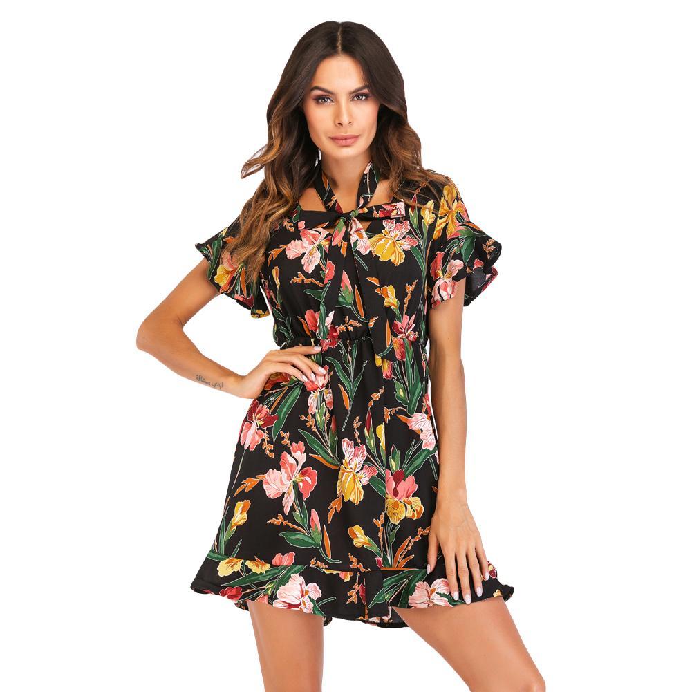6b354d342b 2018 New Summer Women Floral Mini Dress V Neck Flare Sleeve Elastic ...
