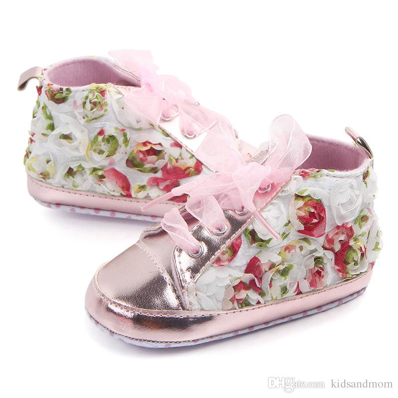 baby first walkers toddler infant newborn baby girls princess rose red pink purple 3D flowers lace shoes white flowers