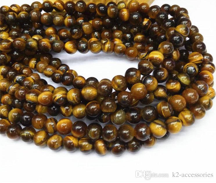 Billig / 8mm Natürliche Steinperlen Gelb Tigerauge Runde Lose Perlen für DIY Schmuckherstellung