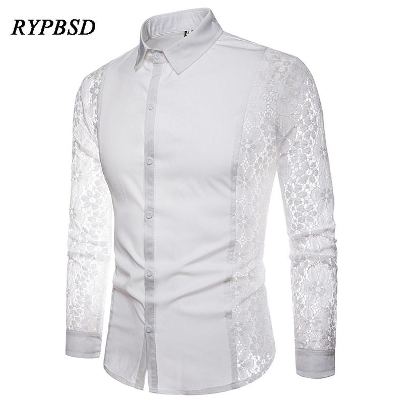 a0e19ee5795ffc 2018 novo outono preto branco patchwork lace camisa dos homens transparente  sexy party manga comprida camisas de vestido camisa social masculina