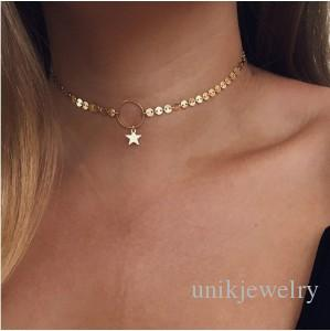 2020 Dainty Necklaces For Girls Ladies Gold Silver Tone Sequine Circle Star Chokers Necklaces Fashion Jewelry Chokers From Unikjewelry 0 51 Dhgate Com