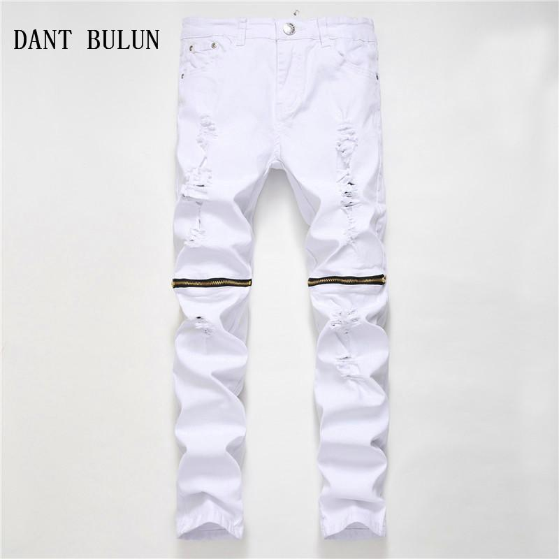 711aee8ba68 2019 DANT BULUN New Fashion Mens Ripped Biker Jeans Red Black White Slim  Fit Skinny Men'S Hole Casual Cotton Zipper Plus Denim Pants From Cagney, ...