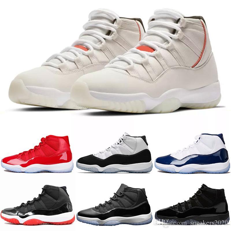 888706e96ca92b Nike Air Jordan Retro Platino Tinte 11 11s Concord 45 Gorra Y Bata Hombres  Mujeres Zapatos De Baloncesto Gimnasio Rojo UNC Gamma Legend Blue Designer  ...