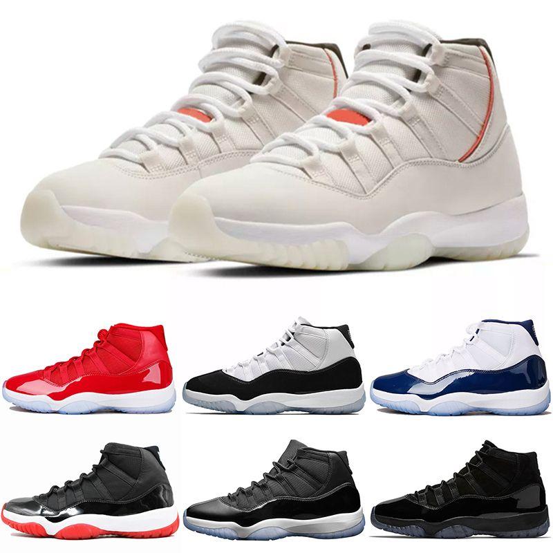 new concept f1ee7 cf216 Scarpe Alte Nike Air Jordan Retro Platinum Tint 11 11s Concord 45 Cap And  Gown Uomo Donna Scarpe Da Ginnastica Gym Rosso UNC Gamma Legend Blue  Designer ...