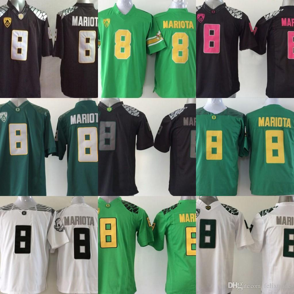 size 40 be61f d6ac7 Youth Oregon Ducks Jerseys #8 Marcus Mariota Kids Boys Children College  Football Jersey Black White Green