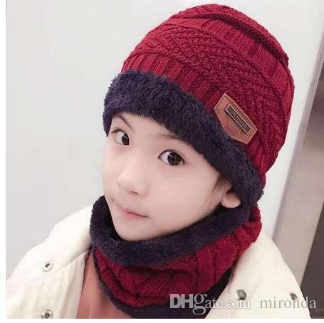 f8c4751eab9 SUOGRY Children Winter Hat And Scarf Set For Boys Girls Knitted Cap Kids  Fleece Skullies Beanies Balaclava Cloche Hat Crochet Hats From Mironda