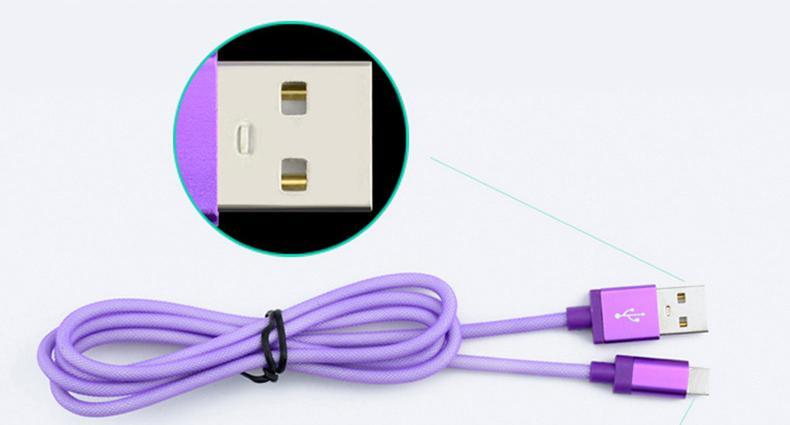 3M / 2M micro 5pin tissu poisson filet tressé métal tête micro usb câble de câble pour samsung huawei téléphone intelligent