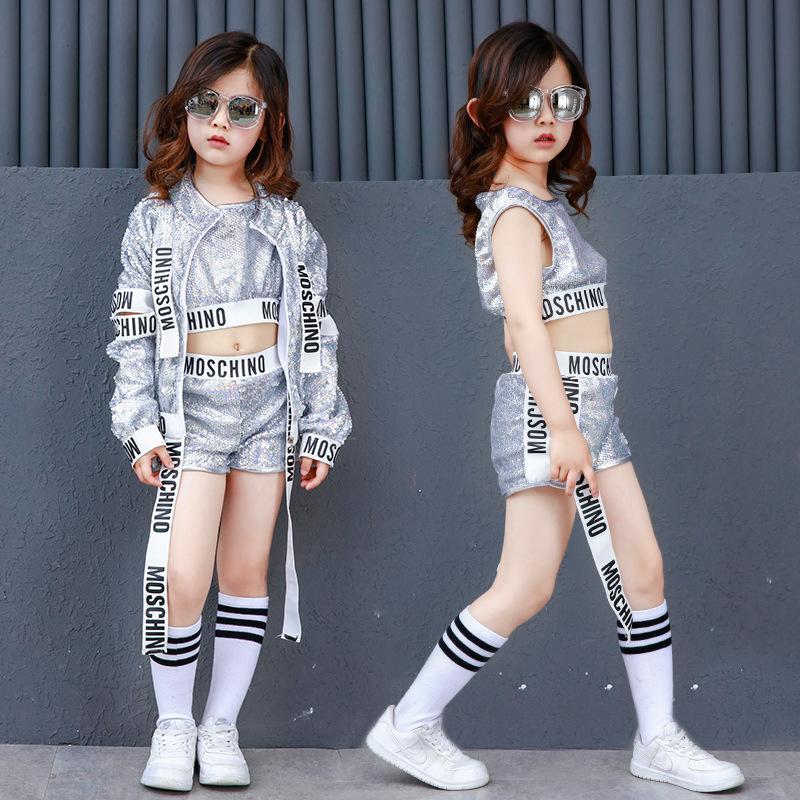 d6ea5b070cf8a Compre Corea Estilo Plata Lentejuelas Niños Niñas Hiphop Ropa De Baile  Mujeres Adultas Niños Hip Hop Jazz Disfraces A  28.86 Del Ritalei