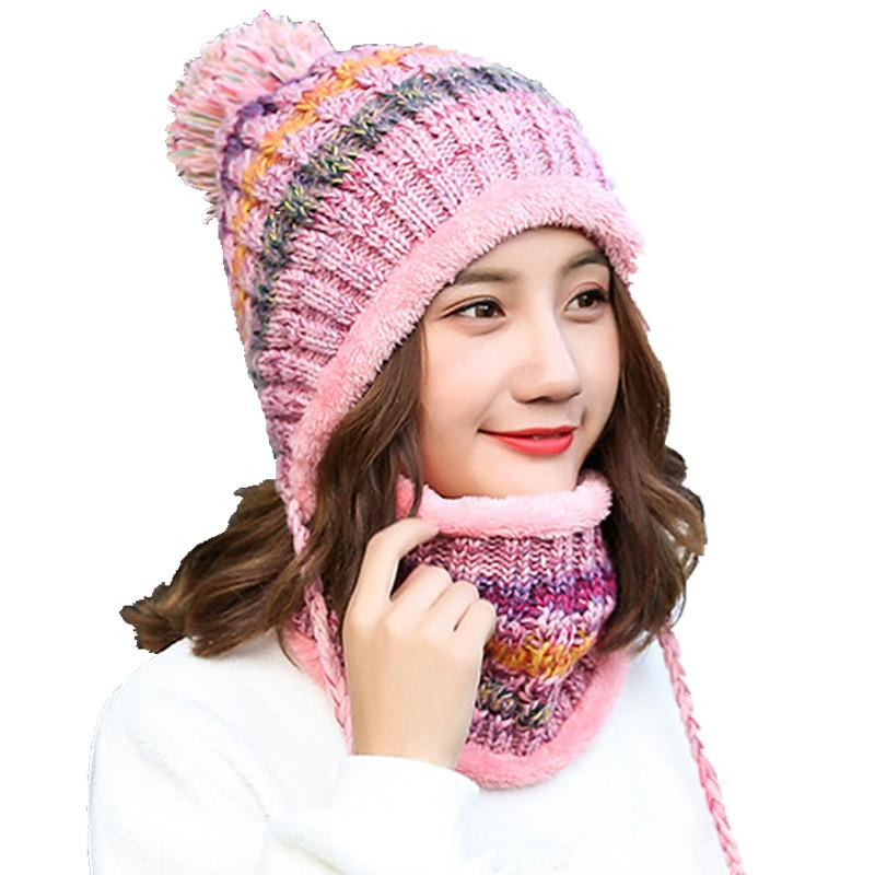 89f43770e New 2017 Winter Women Knitted Hat Scarf Two Pieces Set Fashion Wool  Thickening Hat Collars Female Warm Casual Snow Cap