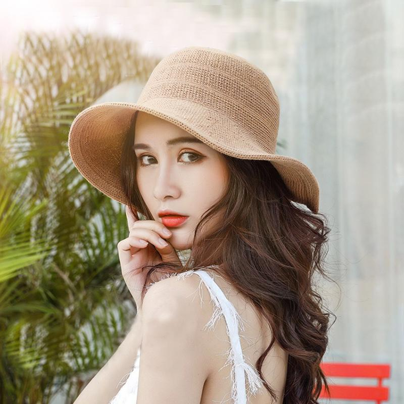 Mingjiebihuo New Fashion Korean Braided Hat Female Summer Bow Basin Cap  Sunscreen UV Protection Collapsible Women Girls Sun Hat Headwear Felt Hat  From ... e0f67c45d73